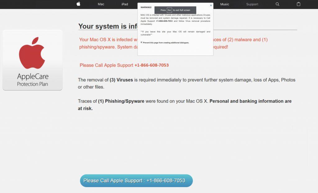 Mac OS Alert POP-UP Scam