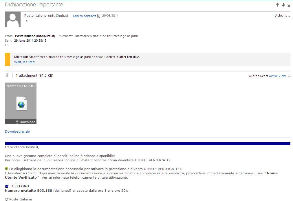Posteitaliane Email Scam