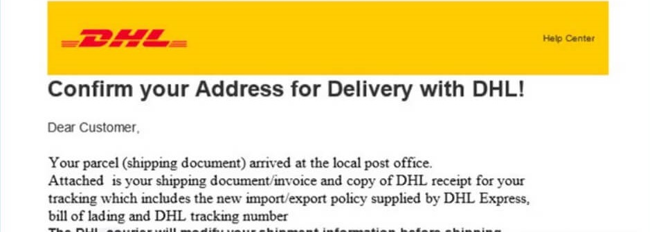 DHL Package Tracking Confirmation Email Scam
