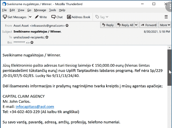 Uplift International Charity Lottery Program Email Scam